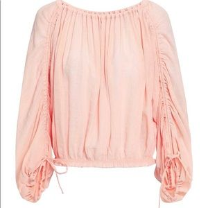 JOIE Ruched crinkled voile blouse peach top S